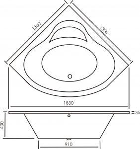 Angara Corner Bathtub River Range dimensions