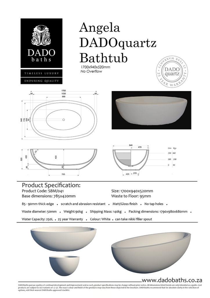 Angela Freestanding Bathtub DADO Spec Sheet