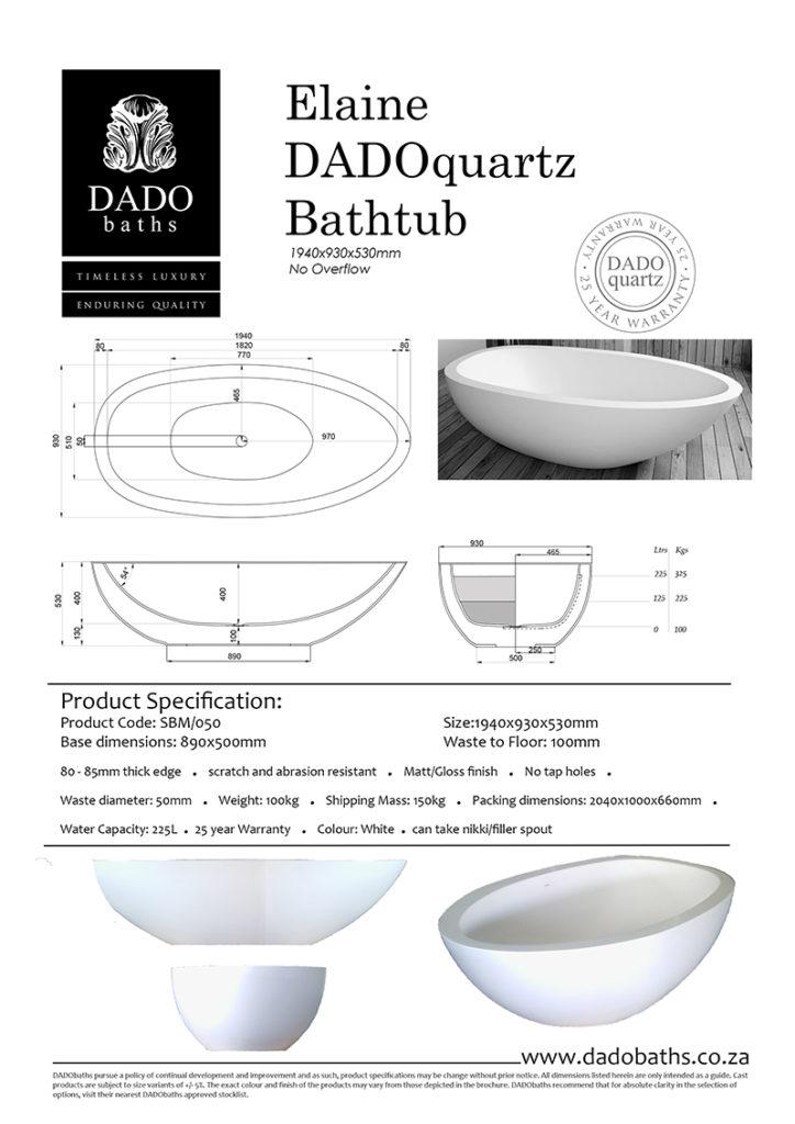 Elaine Freestanding Bathtub DADO Spec Sheet