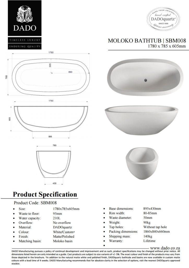 Moloko Freestanding Bathtub DADO Spec Sheet