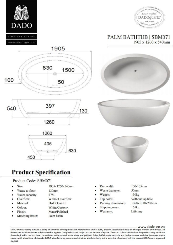 Palm Freestanding Bathtub DADO Spec Sheet