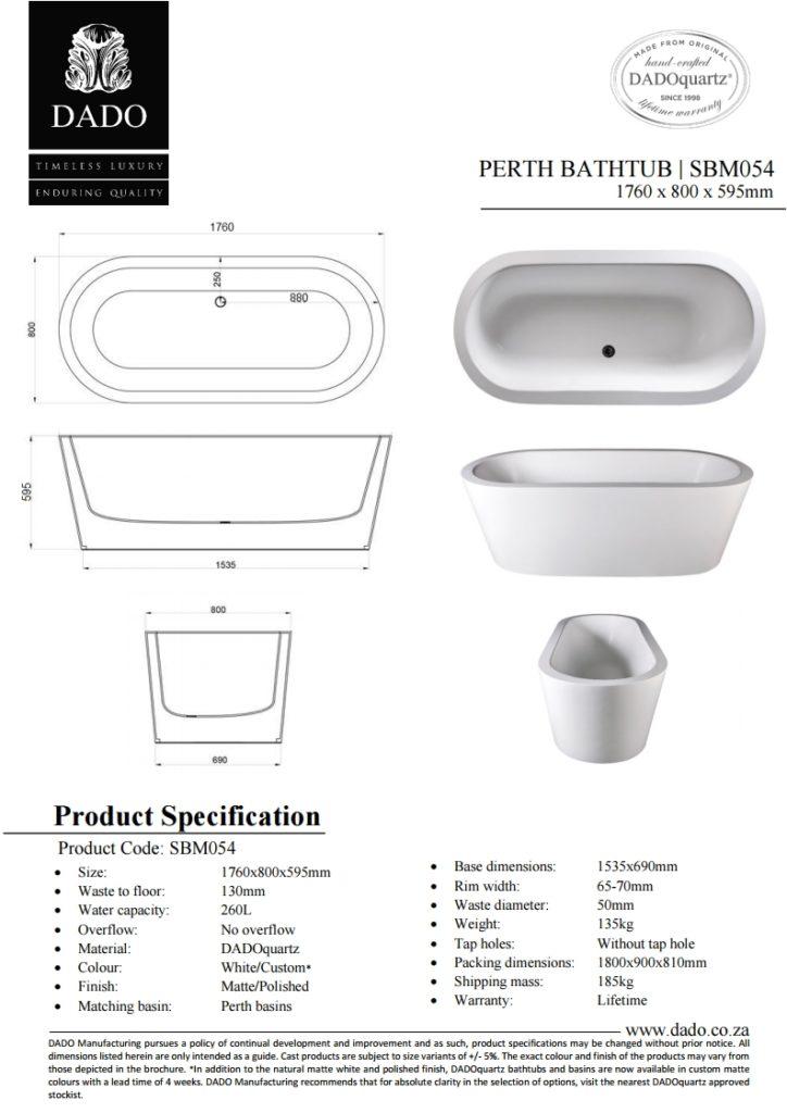 Perth Freestanding Bathtub DADO Spec Sheet